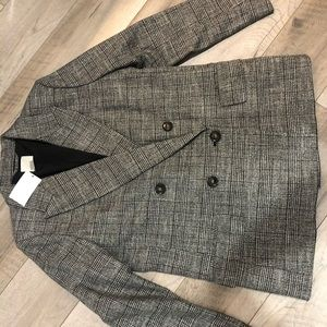 H&M Black Gray Plaid Double Breasted Jacket Sz 10